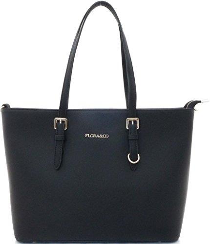 Shopper Tasche Damen Schwarz Flora & Co Handtasche Schultertasche