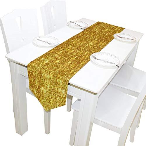 MODORSAN Camino de Mesa 13'x70' decoración del hogar, Elegante Camino de Mesa con Purpurina Dorada, tapete de café para Cocina, Comedor, decoración de Banquete de Boda