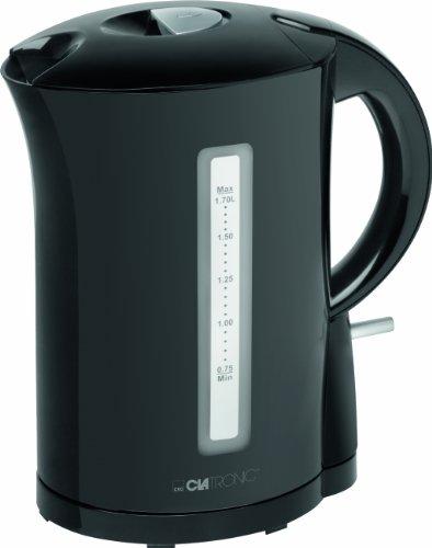 Clatronic WK 3556 Hervidor de agua electrico, capacidad 1,7 litros, negro, 2200W, 2200 W, 1.7 litros, Acero Inoxidable