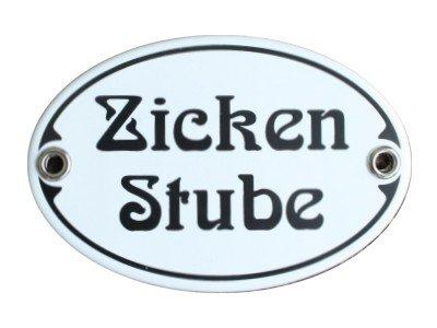 Türschild Zicken Stube Emaille Schild Jugendstil 7 x 10,5 cm Emailschild oval weiß (ohne Holzrahmen)