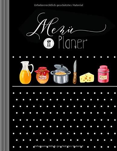 Menü Planer: Menüplaner Woche + Monat mit Einkaufsliste, 143 Seiten Essplan Für 1 Jahr - Essensplaner, Mahlzeitenplaner Log Prep Plan Buch Kalender - Kochplan Einkauf Essensplanung Vordruck Planner