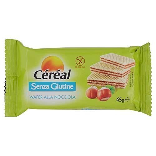 Céréal Wafer Nocciola con crema di Nocciole, Merendine Senza Glutine, Snack senza glutin - 45g
