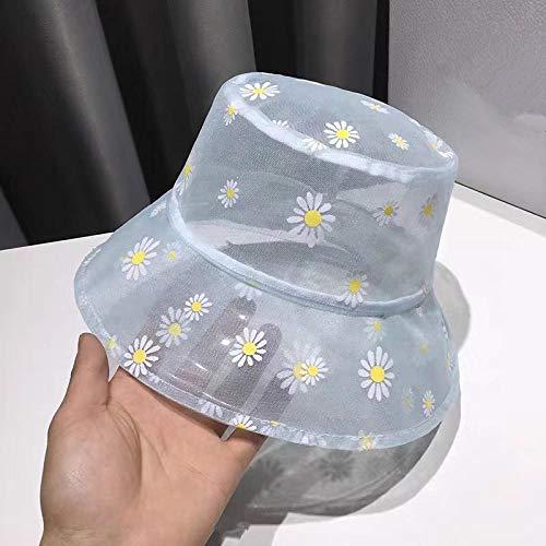 Chapeau Bob Femme Marguerites Fleur Soleil Chapeaux Femmes Seau Chapeau Crème Solaire Brodé Plage Dentelle Transparente Marguerite Pêcheur Casquette-Bleu
