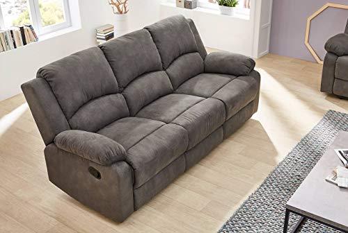 lifestyle4living 3 Sitzer Sofa in anthrzaitfarbenem Stoff mit praktischer Relaxfunktion, verstellbares Funktionssofa zum relaxen und genießen