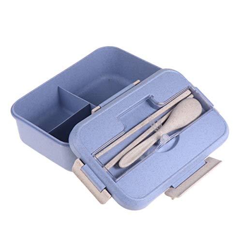 Hemoton Lunchbox Met Lepel en Eetstokjes Tarwestro Bento Box Voedseldoos Verdeeld Voedseldragers Voor Student Blauw