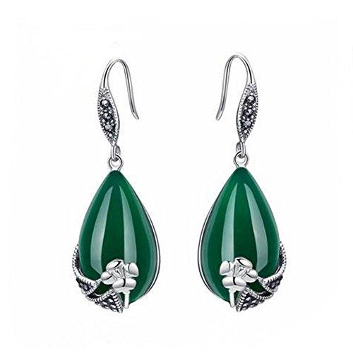 Jade Ángel de plata de ley pendientes de ónix verde tailandés de la joyería de la vendimia