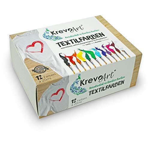 Krevo Art Stoffmalfarben Textilfarben WASCHFEST | Set aus 12 x 20ml Stofffarben in Fläschchen | Zum bemalen von verschiedenen Textilien