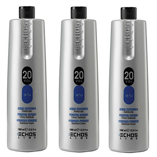 Echosline Lot de 3 peroxyde-oxydant, crème stabilisée - 20 Vol 6 % - 1000 ml