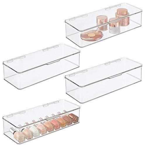 Organizador apilable de almacenamiento de maquillaje de mDesign, para cambiador de baño, encimeras, cajones, para batidoras, paletas de sombra de ojos, lápiz labial, brillo de...