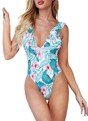 CORAFRITZ Traje de baño de una Pieza con Estampado Floral de Verano para Mujer, Traje de baño con Volantes y Escote en V Profundo y Sexy, Monokini