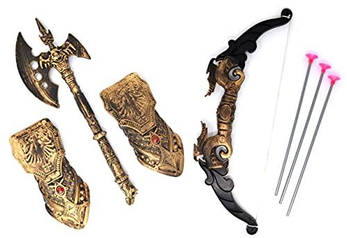 VENTURA TRADING Arco y Flecha Medieval y Conjunto de Hacha Caballero Accesorio Espada de Juguete Guerrero de Juguete Espada de niño Dragones Guerrero Caballero