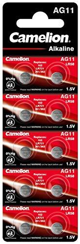 Camelion 12051011 Alkaline Knopfzellen ohne Quecksilber AG11/LR58/LR721/362/1,5 Volt, 10er-Pack