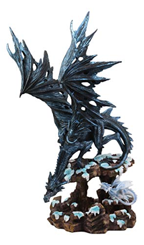 Ebros Large Night Fury Winter Dark Dragon with Frozen Ice White Baby Dragonling Hatchling Statue 18.5' Tall Dungeons Dragons Fantasy Home and Garden Decor Sculpture Medieval Renaissance Figurine