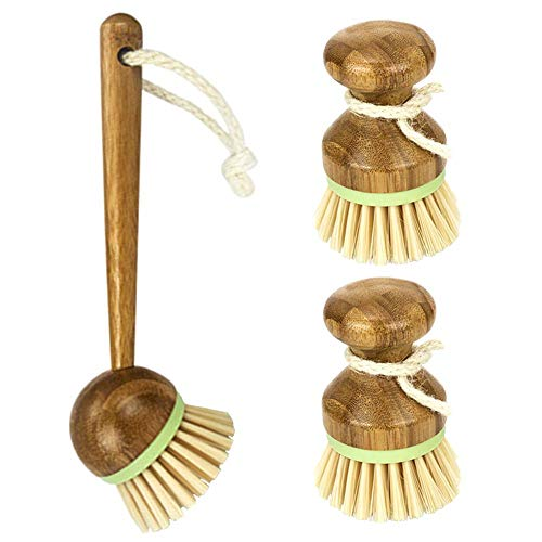 Un set di spazzole per piatti, 2 mini spazzole a palma + 1 spazzola a manico lungo, in bambù per lavare i piatti in stile classico retrò, in legno naturale, per cucina e bagno