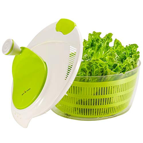 Smile mom El plastico Spinner de ensalada de cocina 4 Litros Secador rápido de verduras-Libre de BPA