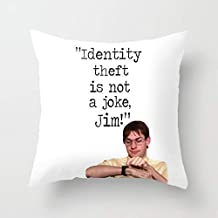 DIY Throw Pillow Cover, Decorative Pillowcase Cover for Home Sofa Bedding Couch, Square Cotton 16x16 Inch - Identity Theft is Not A Joke Jim The Office