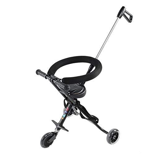 GOTOTOP Triciclo con manillar para niños, portátil, triciclo de paseo plegable, ligero, compacto, de aleación de aluminio, capacidad de carga: 30 kg, color negro