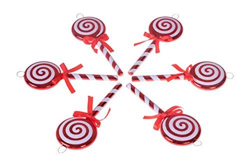Clever Creations - Christbaumanhänger in Lolli-Optik - Festliche Weihnachtsdeko - zeitlos klassisches Design - bruchsicher - mit Bändern zum Aufhängen - Rot und Weiß - 12,7 cm - 6 Stück
