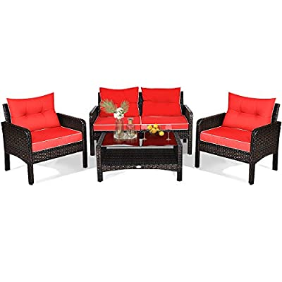HAPPYGRILL 4-Piece Patio Furniture Set Outdoor Rattan Wicker Sofa Set with Cushions & Coffee Table, Conversation Sofa Set with Tempered Glass Table Top and Storage Shelf