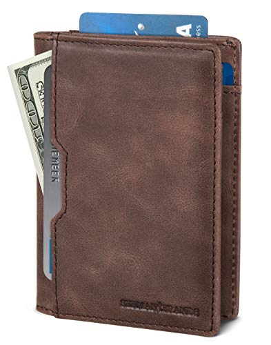 SERMAN BRANDS Wallets for Men Slim Mens leather RFID Blocking Minimalist Card Front Pocket Bifold Travel Thin (Morning Roast 5.S)