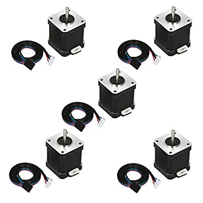 KKmoon 5PCS 17HS8401S 48mm Nema 17 Stepper Motor 42 Motor 42BYGH 1.8A 52N.cm 4-Lead for 3D Printer CNC Laser with Dupont line