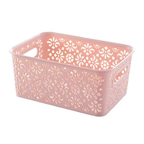 TOPBATHY Canasta de Almacenamiento de plástico apilable Caja de Almacenamiento con Tapa para Ropa Cosmética Papel Juguetes Tamaño S (Rosa)