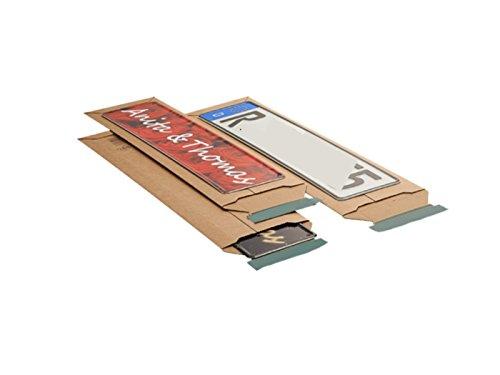 100 x Versandtasche Faltschachtel für Kfz-Kennzeichen Schilder 600x145x-55 mm