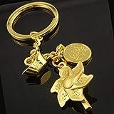 XKMY Llavero anillos para manualidades Creativo lingote de oro rico llavero de imitación de oro dólar molino de viento coche llavero empresa regalos de negocios