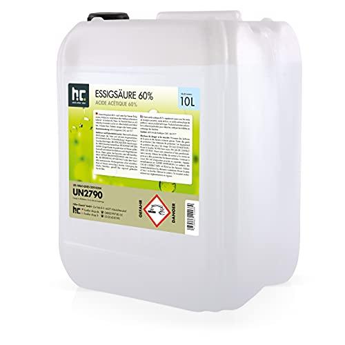 4 x 10 L Essigsäure 60% - Technische Ware - Zuverlässig bei der Beseitigung von hartnäckigen Verschmutzungen