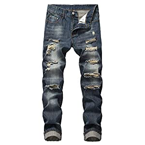 Men's Ripped Slim Fit Straight Stretch Jeans Pants Holes Vintage