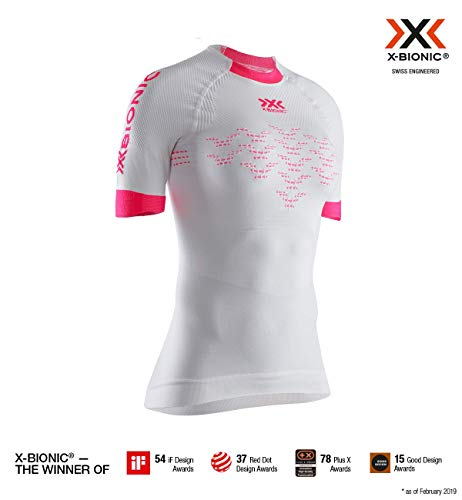 X-Bionic The Trick 4.0 Run Chemise Femme, Arctic White/Neon Flamingo, FR : S (Taille Fabricant : S)