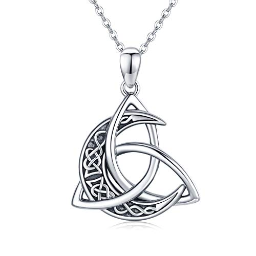 CHENGHONG Celtic Necklace for Women 925 Sterling Silver Moon Pendant Necklace Celtic Jewelry Gift for Women