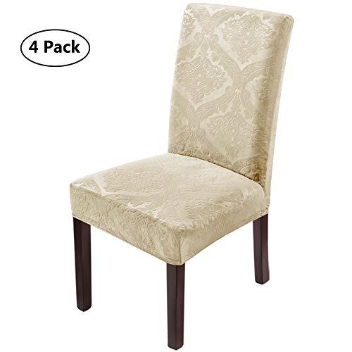 LUOLLOVE Stuhlhussen,Blumenmuster Samt Stretch Stuhlhusse,Spandex Waschbare Stuhlbezug,Stuhlhussen Schwingstühle(4er-Beige)