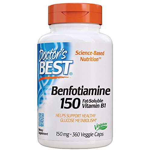 Doctor's Best Benfotiamine, Non-GMO, Vegan, Gluten Free, Soy Free, Helps Maintain Blood Sugar Levels, 150 mg, 360 Veggie Caps (DRB-00269)