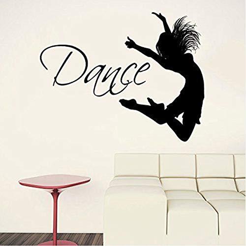 Wuyyii Cita De Baile Silueta De Bailarina Gimnasia Pared De Vinilo Calcomanía Etiqueta Niñas Dormitorio Decoración Del Hogar Decoración De Interior Extraíble 53X42 Cm
