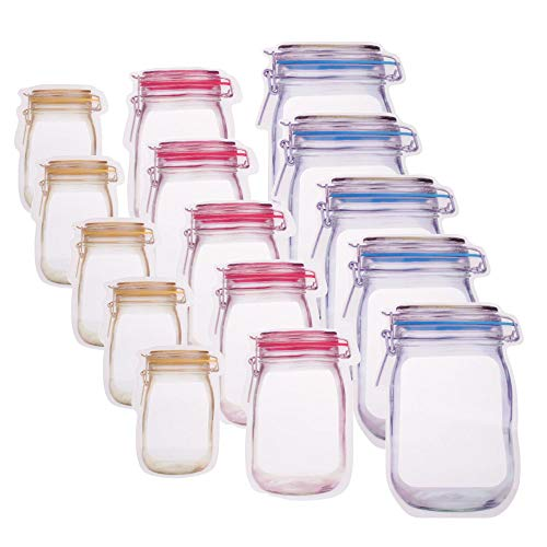 RAYNAG 15 Pack Mason Jar Zipper Bags Frosted Resealable Pouch Airtight Seal Thick Poly Bags, Stand-up Reclosable Saver Bags for Food Candy Jewelry Tea