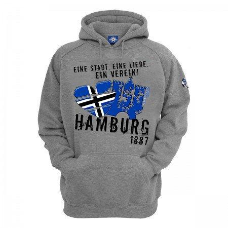 Volkspark Hamburg Streetwear Herren Hoodie Eine Stadt Eine Liebe EIN Verein (Grau, 3XL)