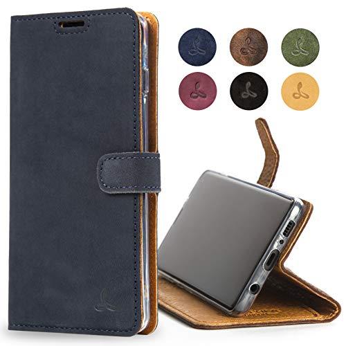 Snakehive S10 5G Schutzhülle/Klapphülle echt Lederhülle mit Standfunktion, Handmade in Europa für Samsung Galaxy S10 5G - (blau)