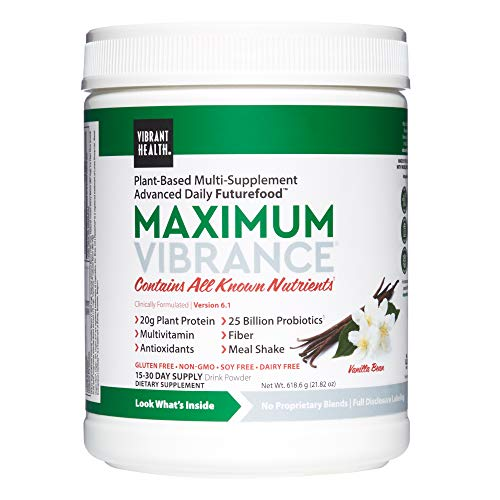 Vibrant Health, Maximum Vibrance, Complete Vegan Meal Shake with Plant-Based Protein, 15 Servings