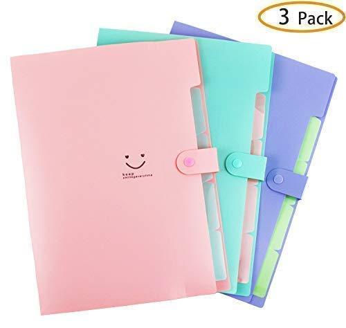 Placstic Expanding File Folders Accordion Document Organizer 5-Pocket A4 Letter Size with Snap Closure for School and Office,3-Pack