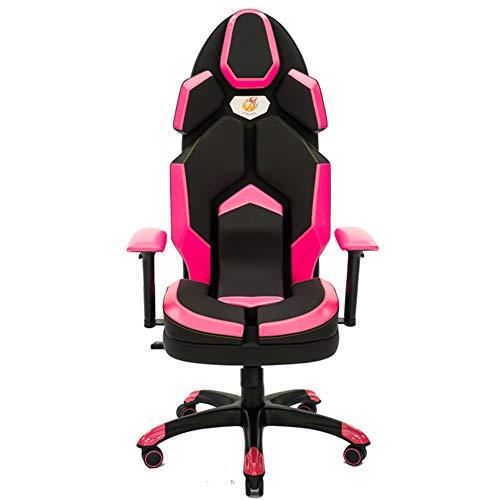 Silla Gaming, Oficina Escritorio Silla con Ruedas Sillas De Juveniles, PC Despacho Ergonomica Chair, SillóN Reclinable Giratorio Elevable Ajustable De 130 °, 7 Colores,Rosado
