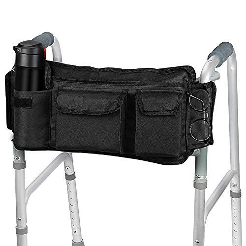 SupreGear Walker Tasche, [Überarbeitete Version] Klapp-Walker Korb Organizer Sack Totalisator für Walker/Rollator/Rollstuhl, Aktualisiertes Klett-Design, Leichter Zugang Reißverschlusstasche