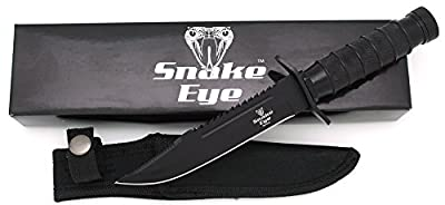 Snake Eye Tactical Fixed Blade Hunting Knife w/Survival Kit & Sheath Camping Fishing Matches Fish Hooks Needles Compass (Black)