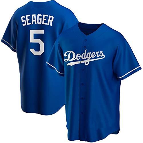 GMRZ MLB Jersey Herren T-Shirt mit Los Angeles Dodgers #5 Seager Logo Major League Baseball Team Sportswear Fans Trikot Herren und Damen, Blau, XXXL