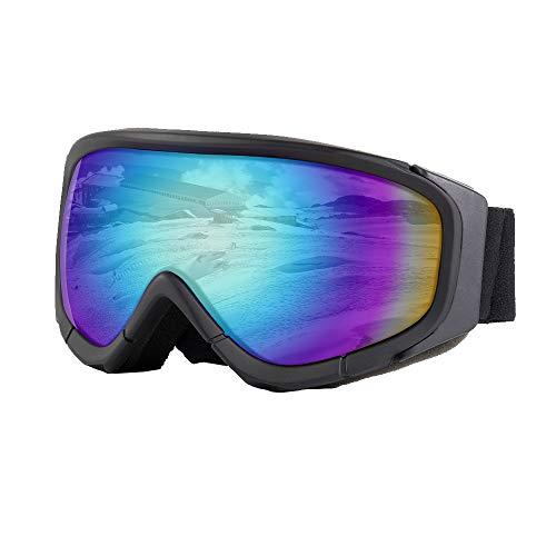 UNILAMP Ski Goggles, Over Glasses Ski/Snowboard Goggles PRO - Frameless Detachable Lens Anti-Fog 100% UV Protection for Men, Women & Youth (Mix2)