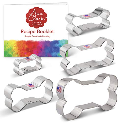 Ann Clark Cookie Cutters 5-Piece Dog Bone and Biscuit Cookie Cutter Set with Recipe Booklet, 2', 3 1/8', 3 1/2', 4', 5'