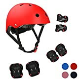 Kids Bike Helmet Sports Protective Gear Set for 3-13 Years Boy Girl Adjustable Toddler Youth Cycling Helmet with Knee Elbow Wrist Pads Skateboard Helmet CPSC Certified