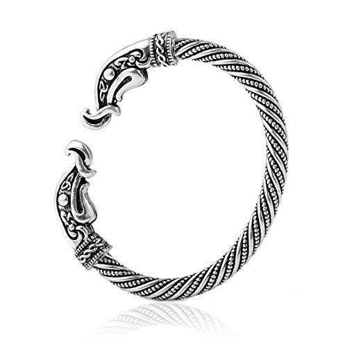 Nordic Glamour Rabe Armreif-Odin Retro-Mode Krähen Totem, Punk-Stil Handgefertigt Verstellbare Manschette Armband, Männer Nordische Mythologie Heidnischen Schmuck Amulett