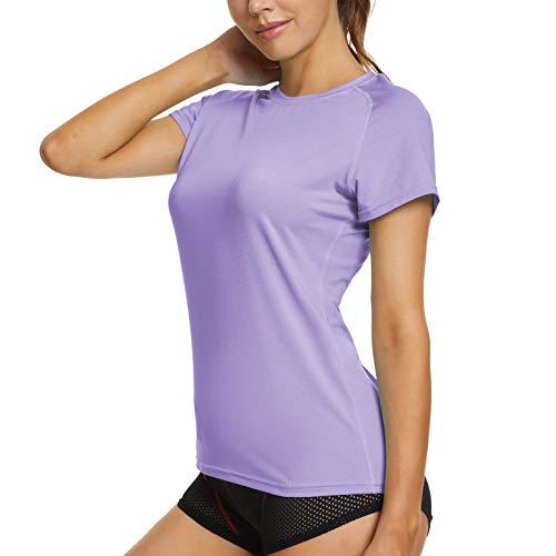 MEETYOO Donna Maglietta Manica Corta, Maglia Sportive Magliette Running Tee T-Shirt per Jogging Gym Fitness