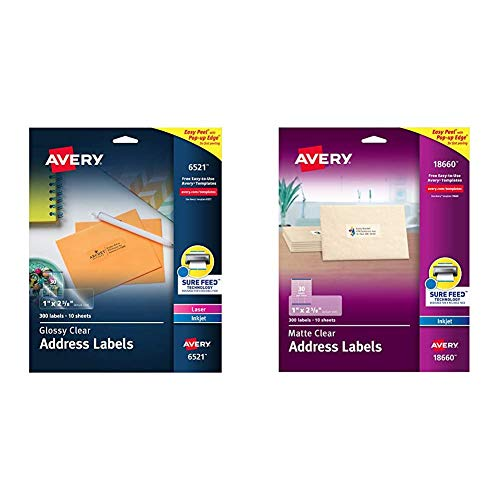 """Avery Glossy Crystal Clear Address Labels for Laser & Inkjet, 1"""" x 2-5/8"""", 300 Printable Holiday Labels (6521) & Matte Frosted Clear Address Labels for Inkjet Printers, 1"""" x 2-5/8"""", 300 Labels"""